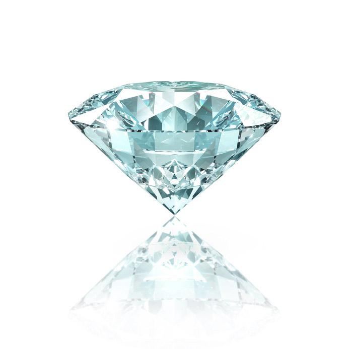 Diamant auf Wei mit Spiegelung